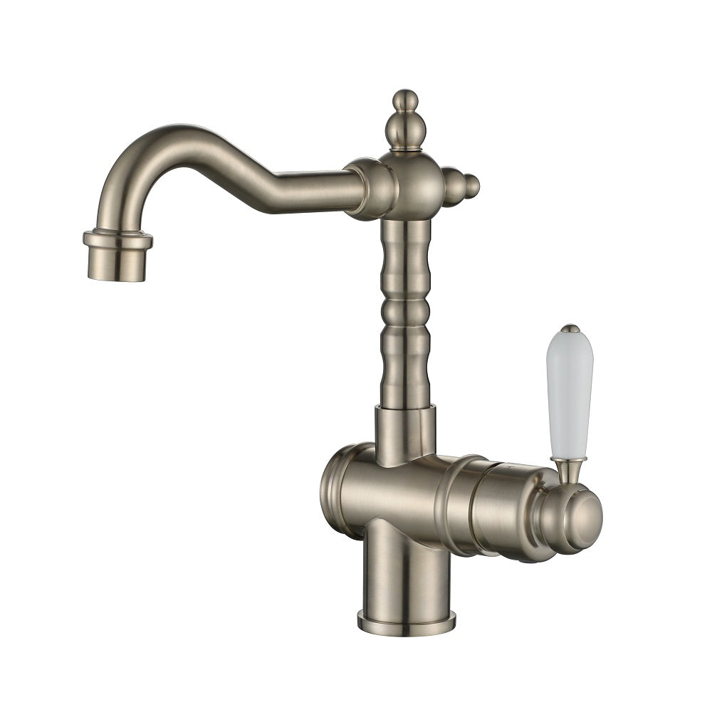 Bordeaux Traditional Brushed Nickel High Rise Basin Mixer