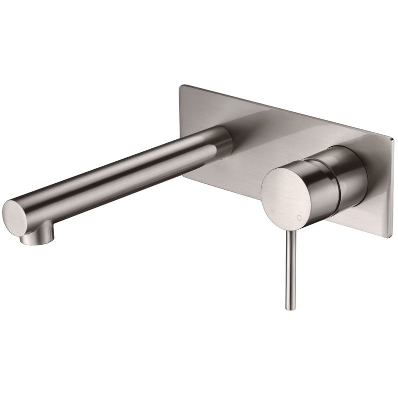Ikon Hali Brushed Nickel Wall Basin Mixer/Bath Spout