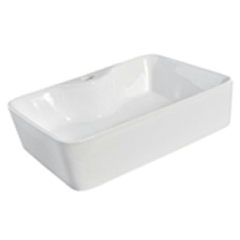 White Gloss Above Counter basin 490 x 380 x 130 mm with Tap Hole