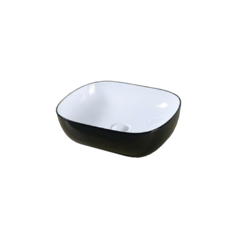Above Counter Black And White Ceramic Basin 485 x 390 x 150mm