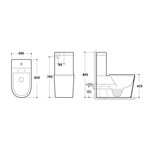 KDK 022 Rimless Wall Faced Toilet Suite