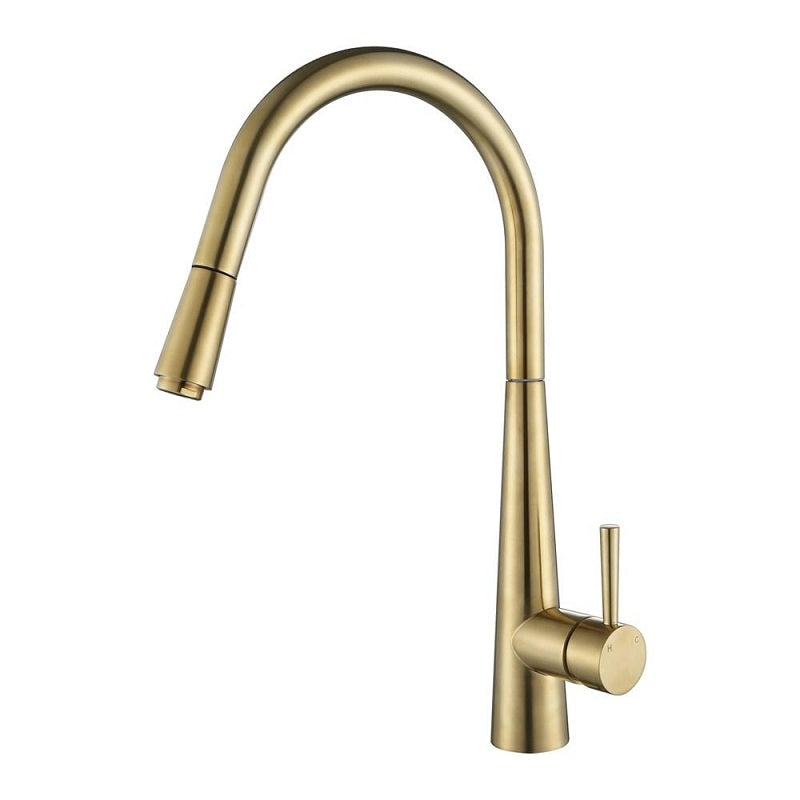 Kasper Brushed Bronze Round Pull-Out Kitchen Mixer