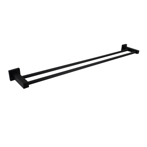 Messina Black 600 mm Double Towel Rail
