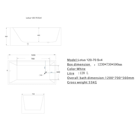 1200 mm Square Multi-fit Freestanding Bath Tub