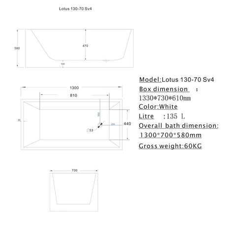 1300 mm Square Multi-fit Freestanding Bath Tub