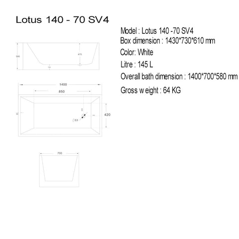 1400 mm Square Multi-fit Freestanding Bath Tub