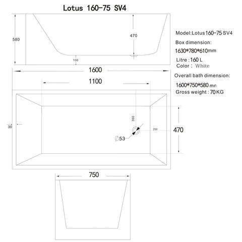 1600 mm Square Multi-fit Freestanding Bath Tub