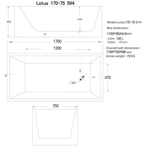 1700 mm Square Multi-fit Freestanding Bath Tub