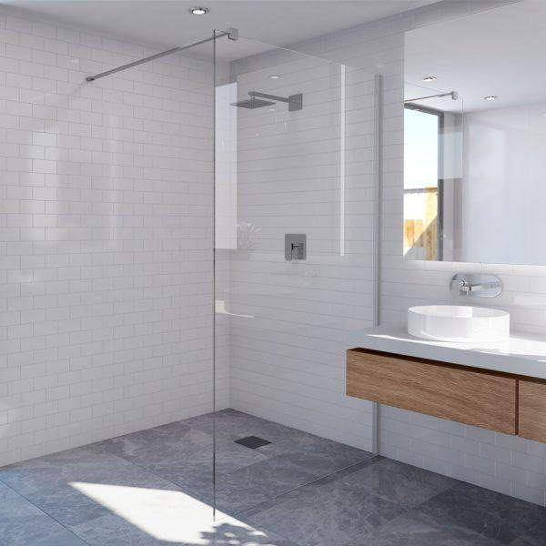 1160 mm Frameless Fixed Panel Shower Screen