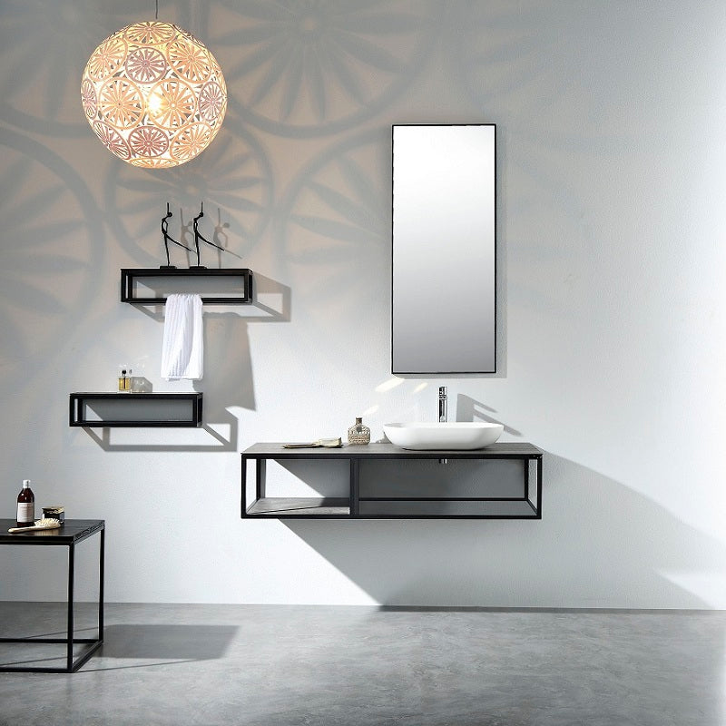 Picasso Black 1300 Vanity With Black Shelf & Mirror By indulge®