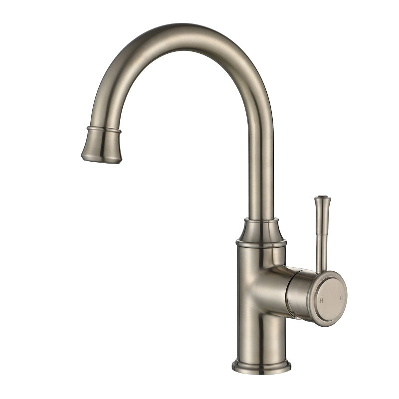 Montpellier Brushed Nickel High Rise Basin Mixer