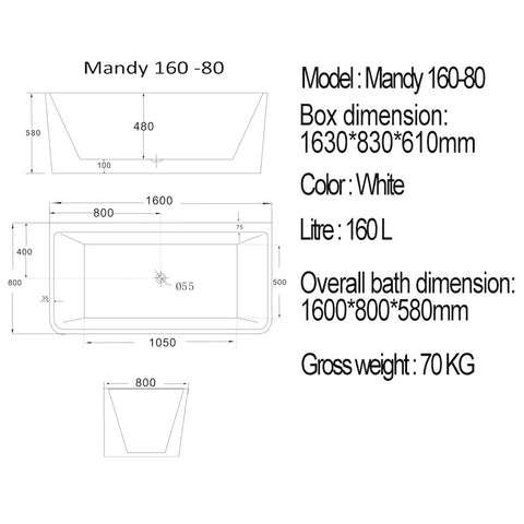 1600 mm Mandy Back to Wall Freestanding Bath Tub