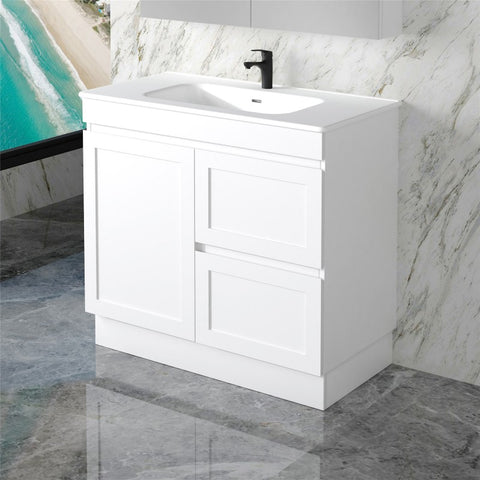 Miami 900 Matte White Vanity With Kickboard