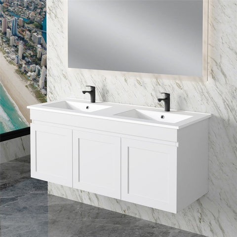 Miami 1200 Double Matte White Wall Hung Vanity