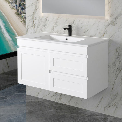 Miami 900 Matte White Wall Hung Vanity