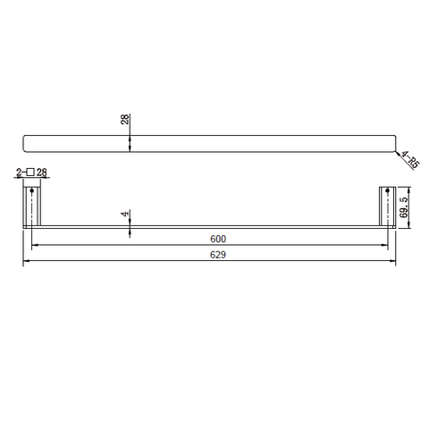 Noble 600 mm Single Towel Rail