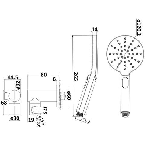 Round Hand Held Shower Set
