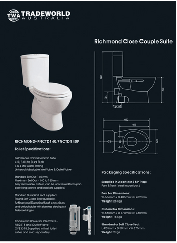 Richmond S-trap Toilet Suite