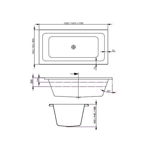 1750 x 805 x 480 mm Carina Spa Bath