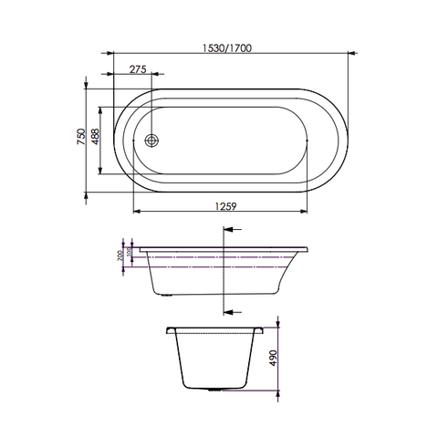 1700 x 750 x 490 mm Uno Contour Spa Bath