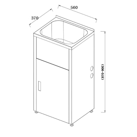 560 x 370 x 870 mm Laundry Tub