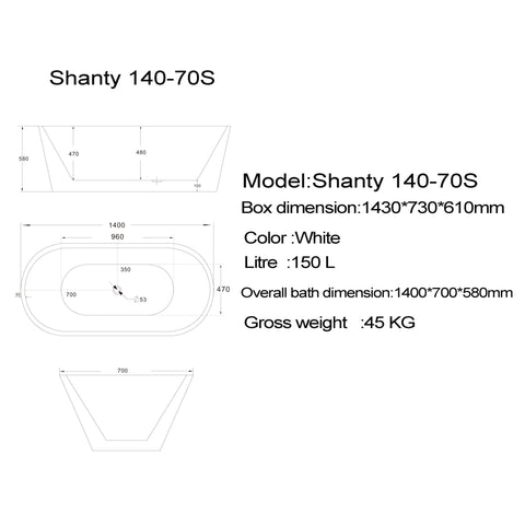 1400 mm Round Freestanding Bath Tub