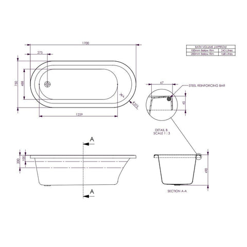 Uno 1700 Drop in Bath Tub