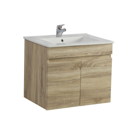 Berge 600 Narrow White Oak Wall Hung Vanity