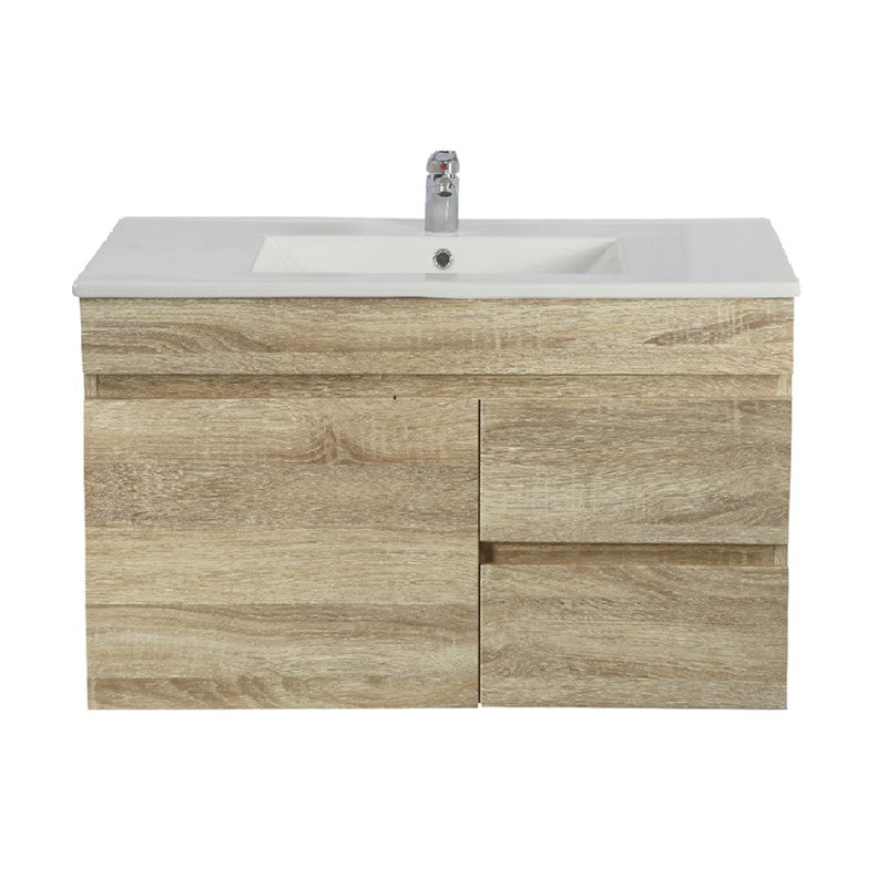 Berge 750 Narrow White Oak Wall Hung Vanity