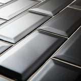 75 x 150 mm Black Subway Bevel Feature Tiles