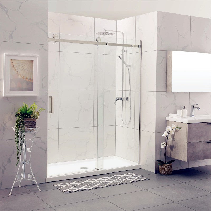 Square Frameless Adjustable Brushed Nickel Wall to Wall Sliding Shower Screen