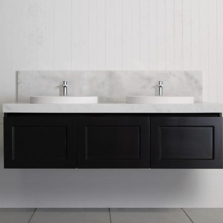 Black London 1800 mm Double Wall Hung Vanity
