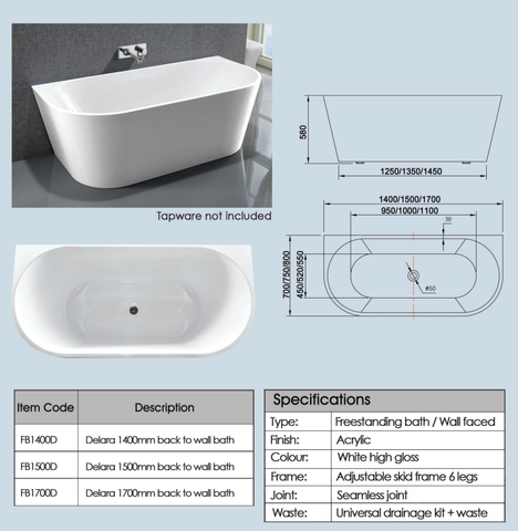 1700mm Delara Back to Wall Freestanding Bath Tub