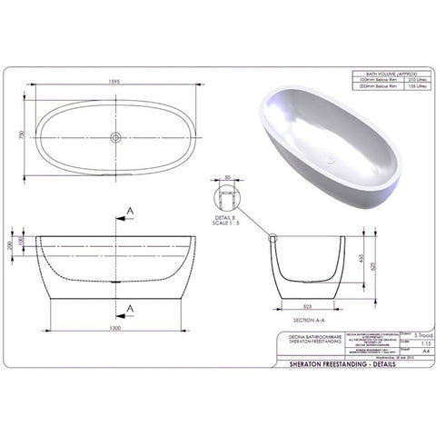 1600 mm Sheraton Freestanding Bath