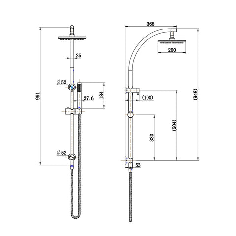 Dubbo Multifunction Shower Rail Set