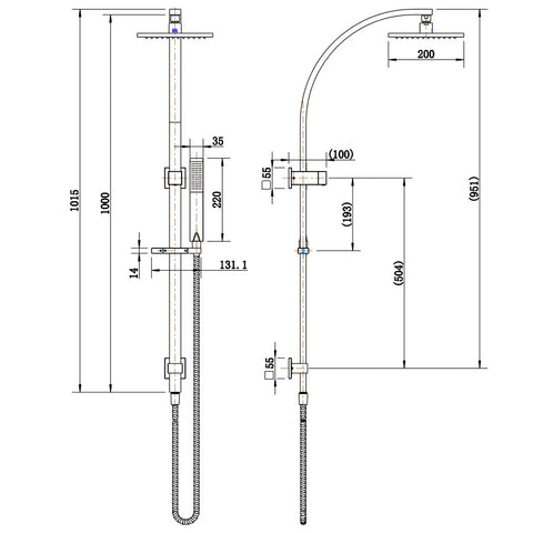 Eva Multifunction Shower Rail Set