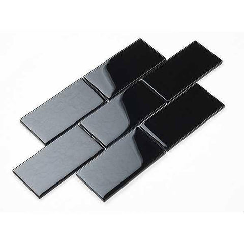 75 x 150 mm Black Subway Pencil Feature wall tiles