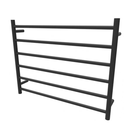 Allegra Black Round Electric Heated Towel Rack 6 Bars
