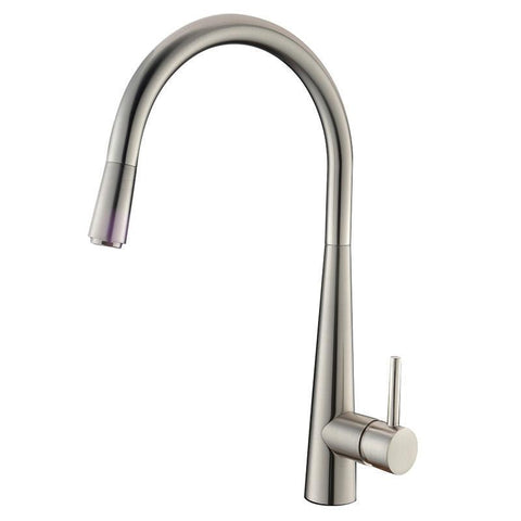 Kasper Brushed Nickel Round Pull-Out Kitchen Mixer