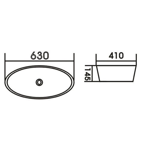 630 x 410 x 145 mm Above Counter Basin