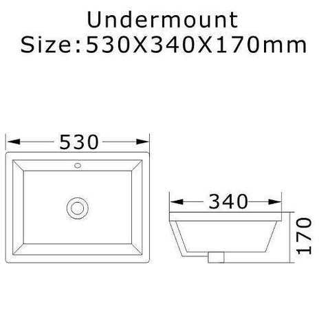 530 x 340 x 170 mm Under Counter Basin