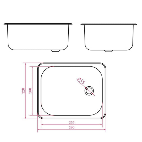 390 x 370 x 160 mm Kitchen Sink
