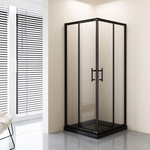 1000 x 1000 Black Adjustable Sliding Framed Shower Screen