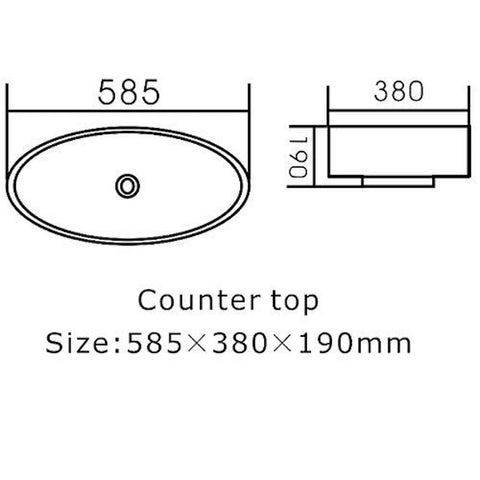 585 x 380 x 190 mm Above Counter Basin
