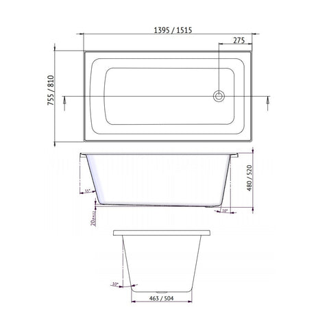 1395 x 755 x 480 mm Shenseki Bath Spa