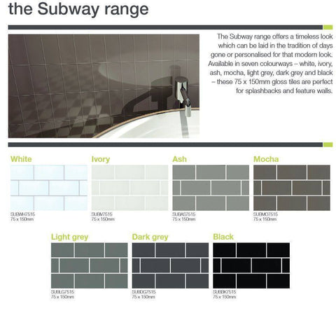 75 x 150 mm Light Grey Subway Pencil Feature wall tiles