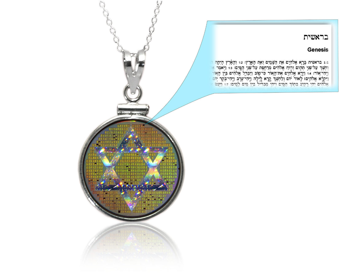 Nano Torah Star of David in Classic Pendant Setting