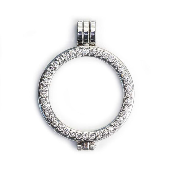 Pendant Setting Stainless Steel with Round Crystals (2 sizes)