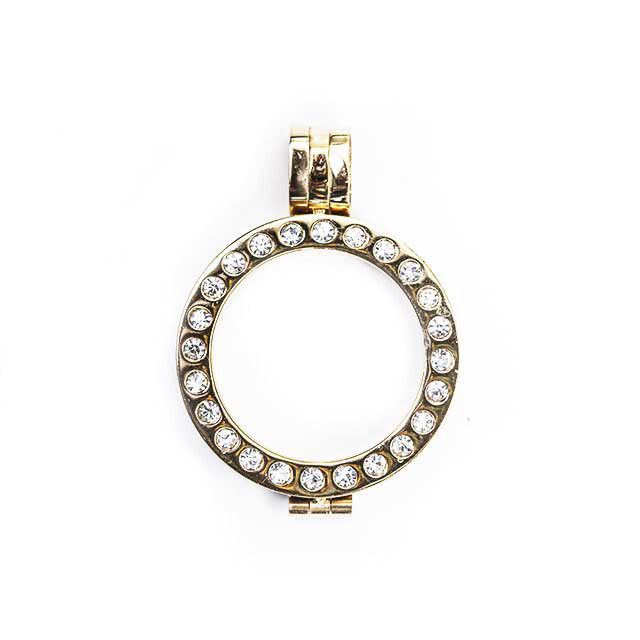 Pendant Setting Stainless Steel Yellow Gold plated with Round Crystals (2 sizes)
