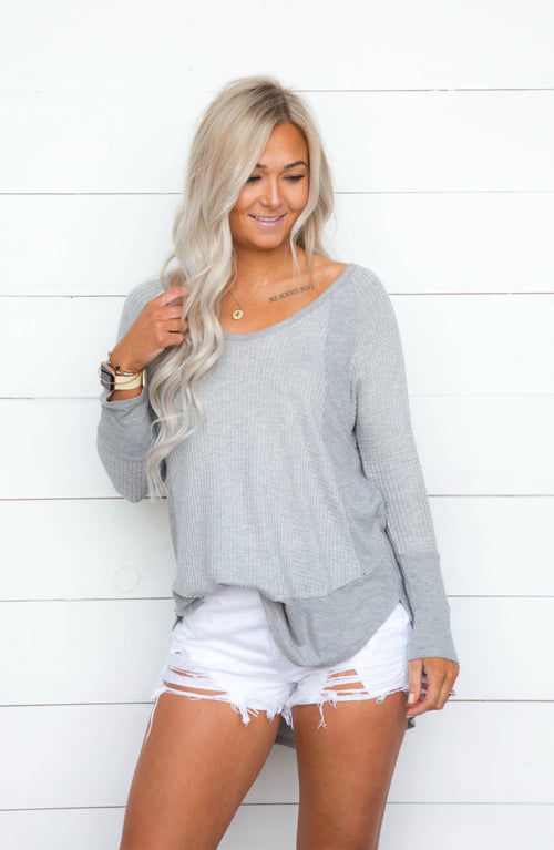 Your Side Cut Edge Raglan Long Sleeve Top - 2 Colors